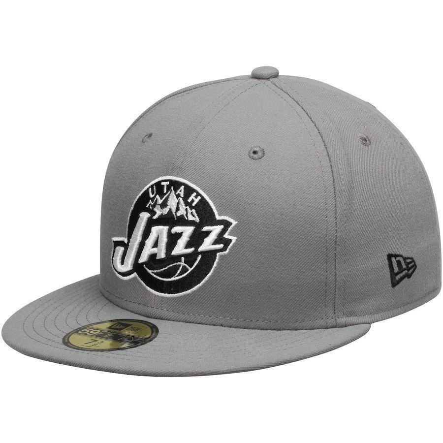 Mens Utah Jazz New Era Gray Black 59FIFTY Fitted Hat b74a45e1b