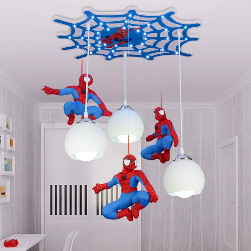 Switch With Led Suppliers Cool Cartoon Character Spiderman Ceiling Children Room Boy Bedroom Lighting Lamp LED Creative Remote Control