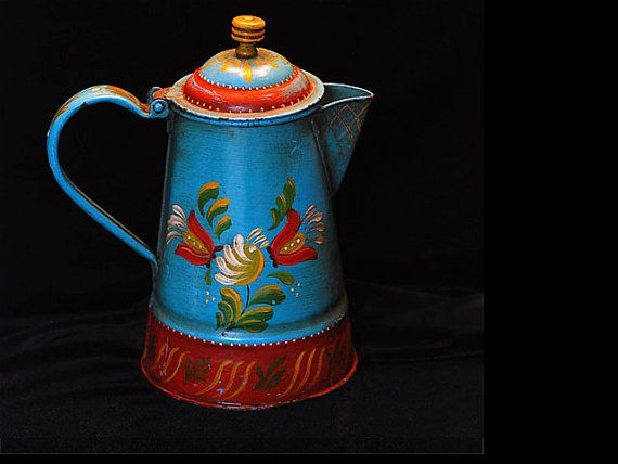Vintage Metal Tole Painted Coffee Pot by lillyrose59 on Etsy