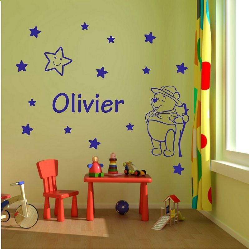 Winnie The Pooh Personalised Name Boys Girls Bedroom Wall Decal Wall ...