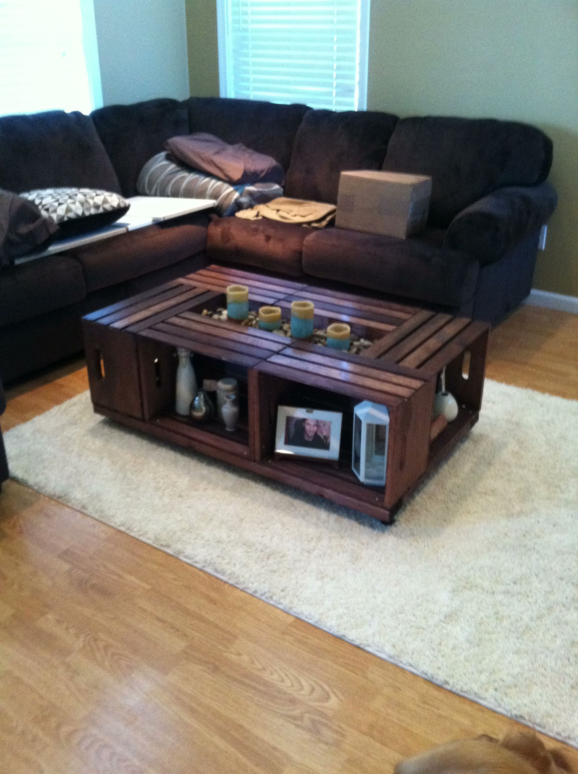 Superieur Did The Pinterest Crate Coffee Table With A Twist, Instead Of Using Only 4  Crates I Used 6 So It Wasnu0027t So Small Against My Huge Couch, Love How It  Turned ...