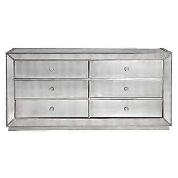 Z Gallerie Omni Mirrored 6 Drawer Dresser