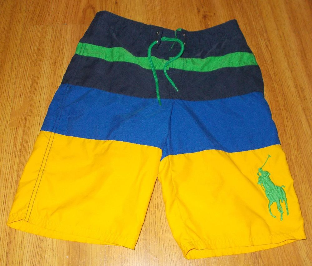 6310258d Polo Ralph Lauren Boys Swim Shorts Suit Swimming L 14-16 Blue Green Yellow  #PoloRalphLauren #SwimShorts