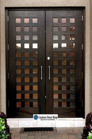 Unique contemporary front door with grid design. Mahogany double wood door with 100 lights made from impact hurricane glass. Stainless steel pulls u2026 & Unique contemporary front door with grid design. Mahogany double ...