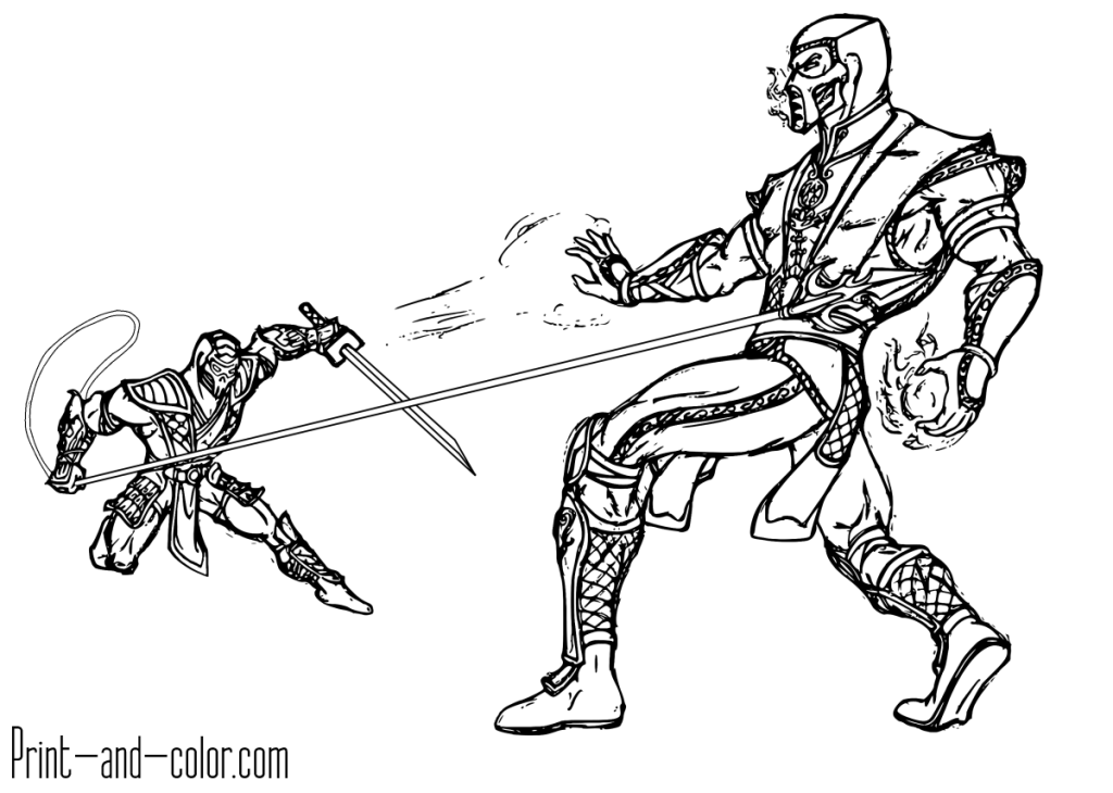 Mortal Kombat Coloring Page Sub Zero Vs Scorpion Coloring Pages Mortal Kombat Color