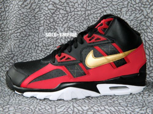 low priced 194c3 93463 Nike Air Trainer SC High Black Metallic Gold Red White 49ers X Bo Jackson  New DS
