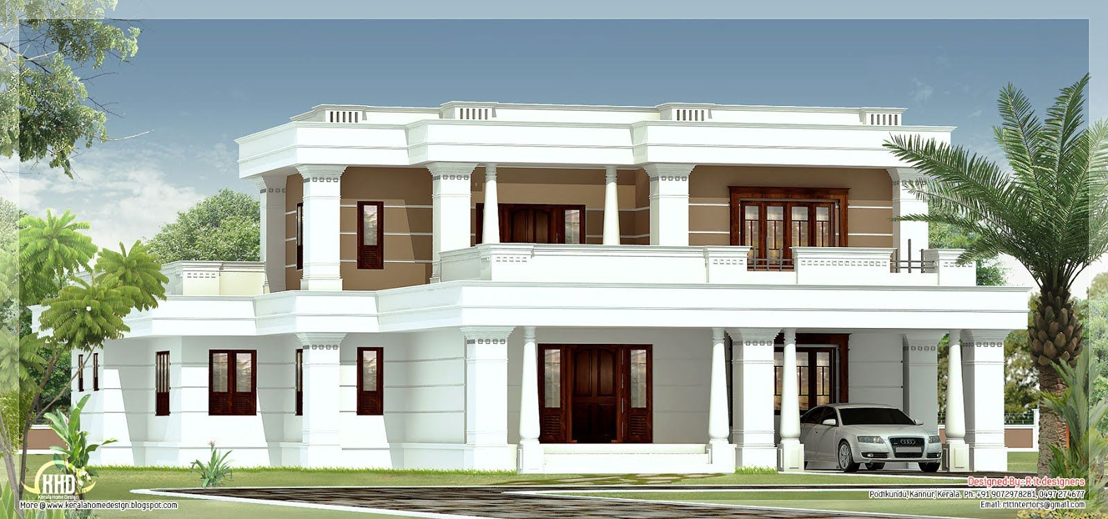 Spanish style villas google search favorite places for Flat roof elevation