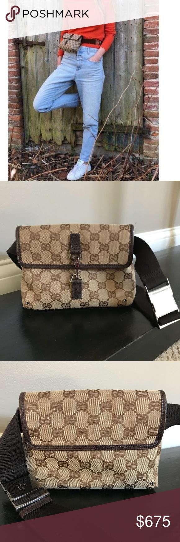 c2381c9f706 Rare Gucci Monogram GG Belt Bag Waist Fanny Pack Rare Gucci Monogram GG  Belt Bag Excellent