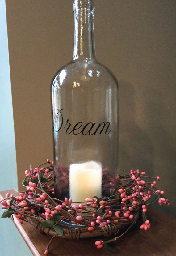 Large Spring Inspired Wine Bottle Led Light Centerpiece Wine