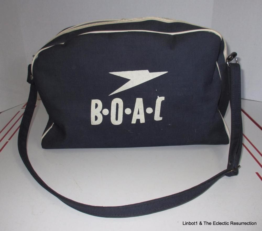 6997bcf7f4 Vintage 1960s BOAC Airlines Flight Bag Carry On Tote Bag