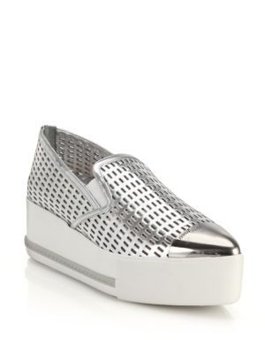White Cap Toe Platform Slip-On Sneakers Miu Miu