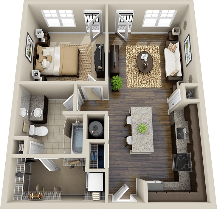 One Bedroom House Plans |  Http://www.crescentcameronvillage.com/feed_data/3d/556342 Floorplan 3d .