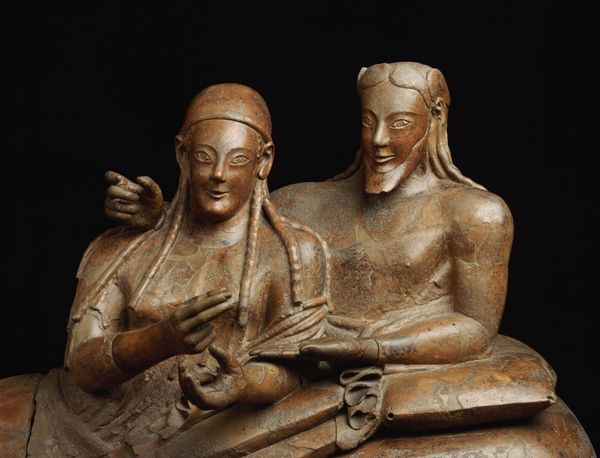 Gli Etruschi sono tra noi ~ The Etruscans are among us. A new study reveals that the DNA of the Etruscans were not from the East as we assumed, and that their biological heritage still survives among the inhabitants of Tuscany. A married couple on their Etruscan sarcophagus. Photo by Herald de Luca, Corbis