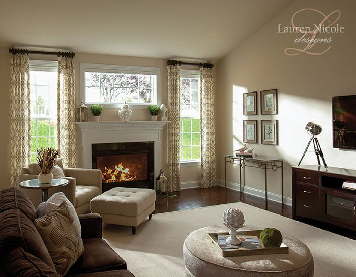 Family Room Trellis Gray Window Treatments Chocolate Brown