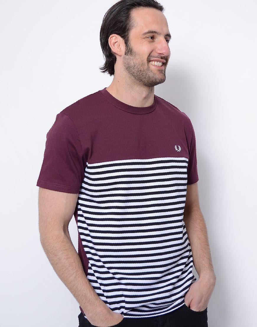 22ad5bc6b Fred Perry Pique Stripe Panel T-Shirt Mahogany | Terraces T-Shirts ...