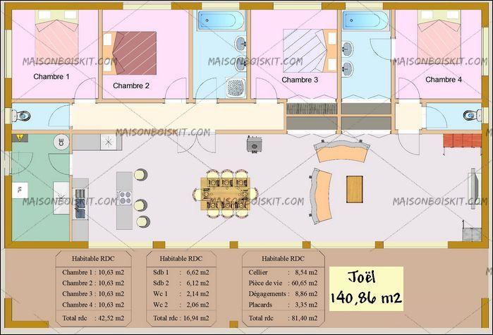 Plan Gratuit Maison Bois Moderne 4 Chambres   Maison   Pinterest