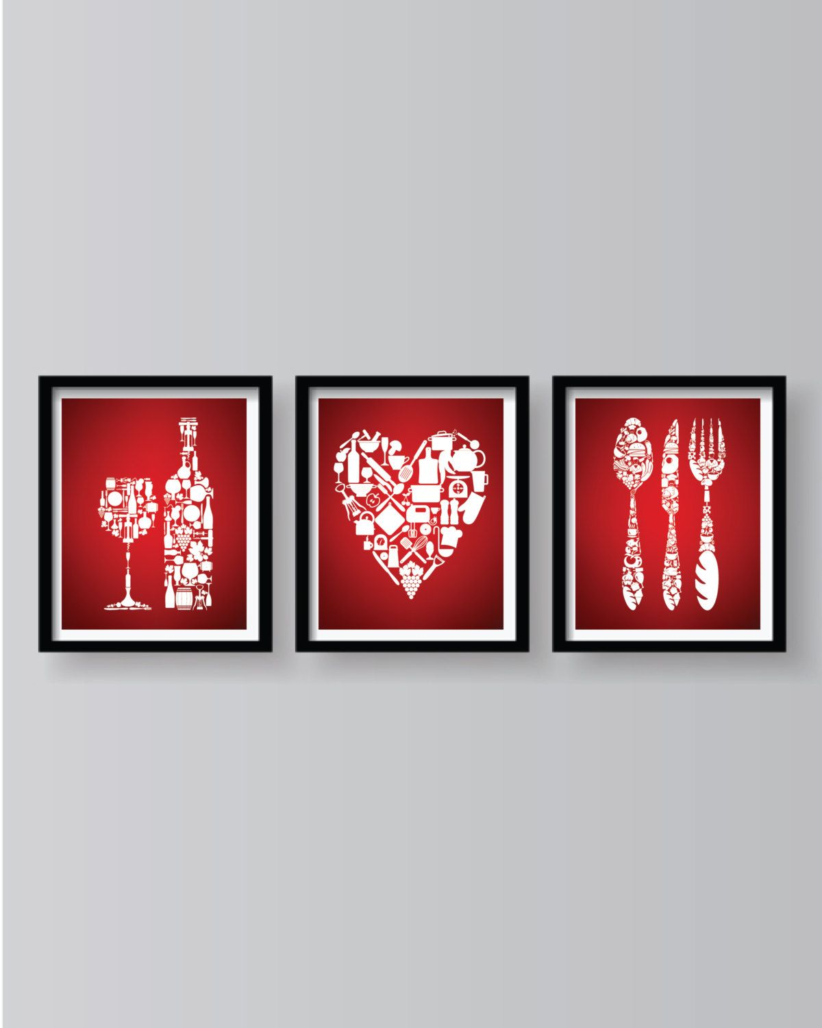 Red Kitchen Wall Decor Red Dining Room Art Red Kitchen Etsy Red Kitchen Decor Red Kitchen Walls Red Kitchen
