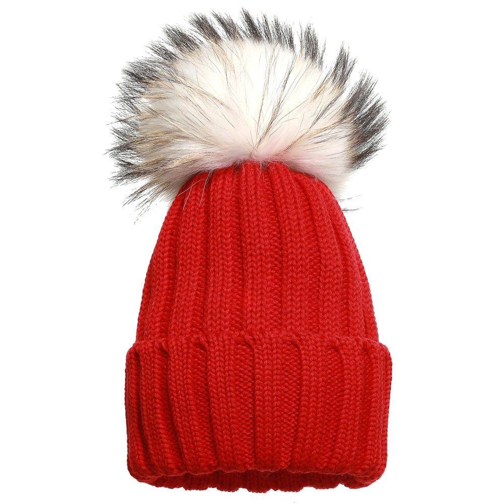 f84a03280135a9 Catya - Red Merino Hat With Fur Pom Pom | Childrensalon | LC BOYS ...
