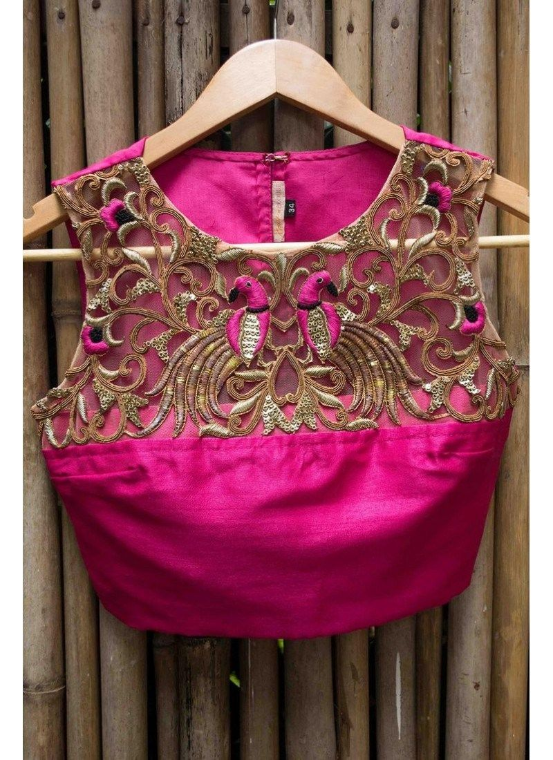 Fuchsia & Brown Designer Blouse adorned with stunning embroidery ...