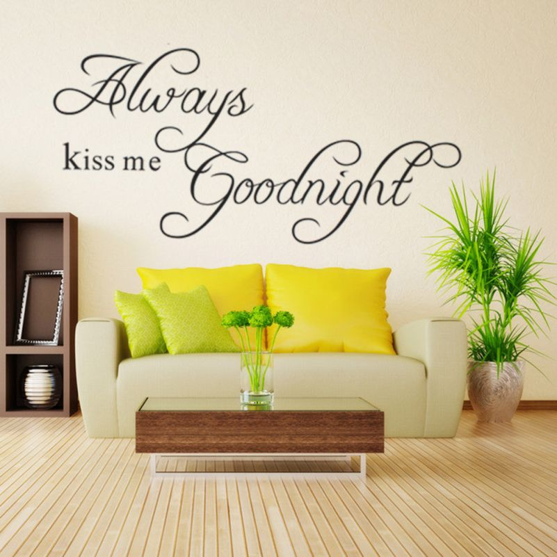 Always Kiss Me Goodnight Letters Wall Stickers Home Decor Bedroom ...