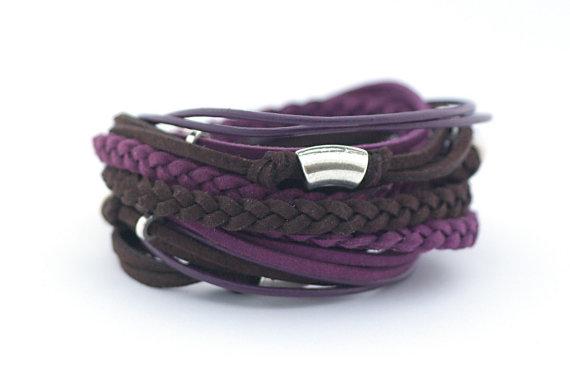 Purple Chocolate Brown Men's Bohemian Bracelet by cardioceras