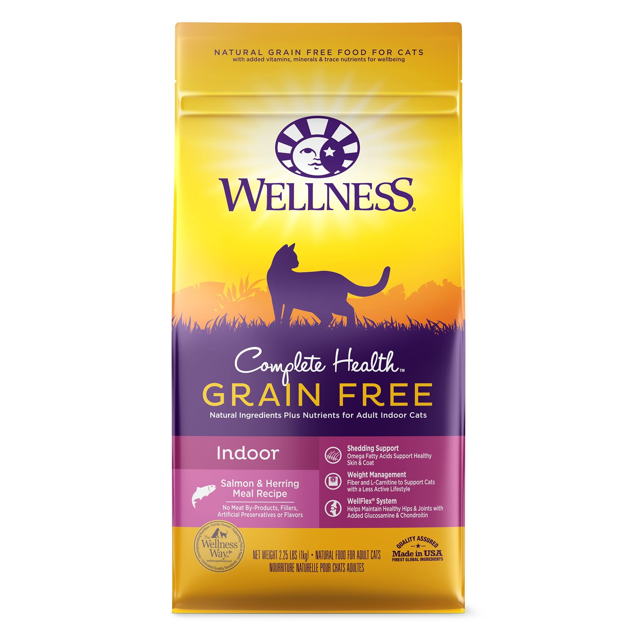 Wellness Complete Health Indoor Cat Food Natural Grain Free Salmon And Herring Meal Size 2 25 Lb Pink Kibble Adult Dry Cat Food Cat Food Natural Pet Food
