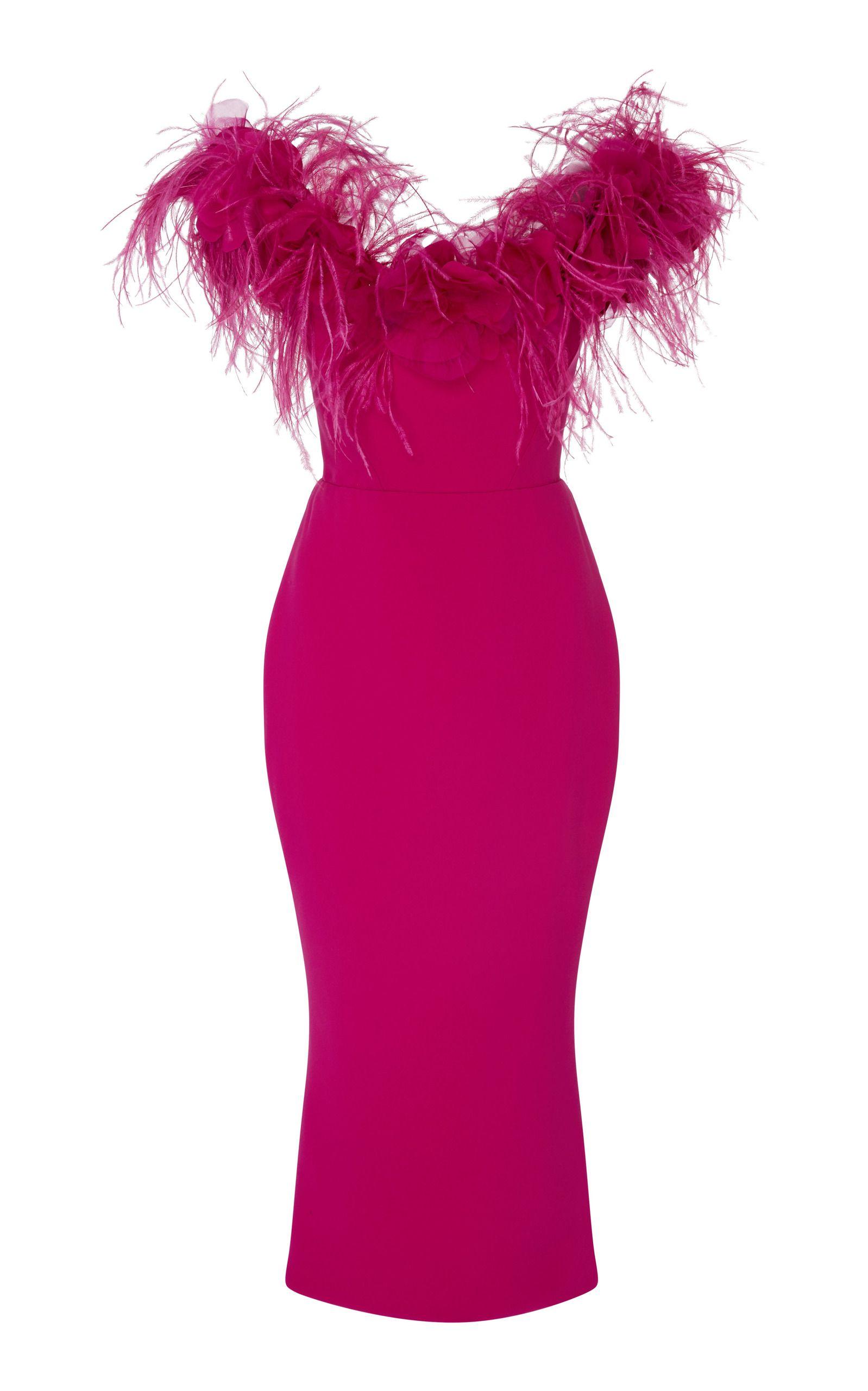 f7184373e090 Off The Shoulder Feather Midi Dress by MARCHESA for Preorder on Moda  Operandi