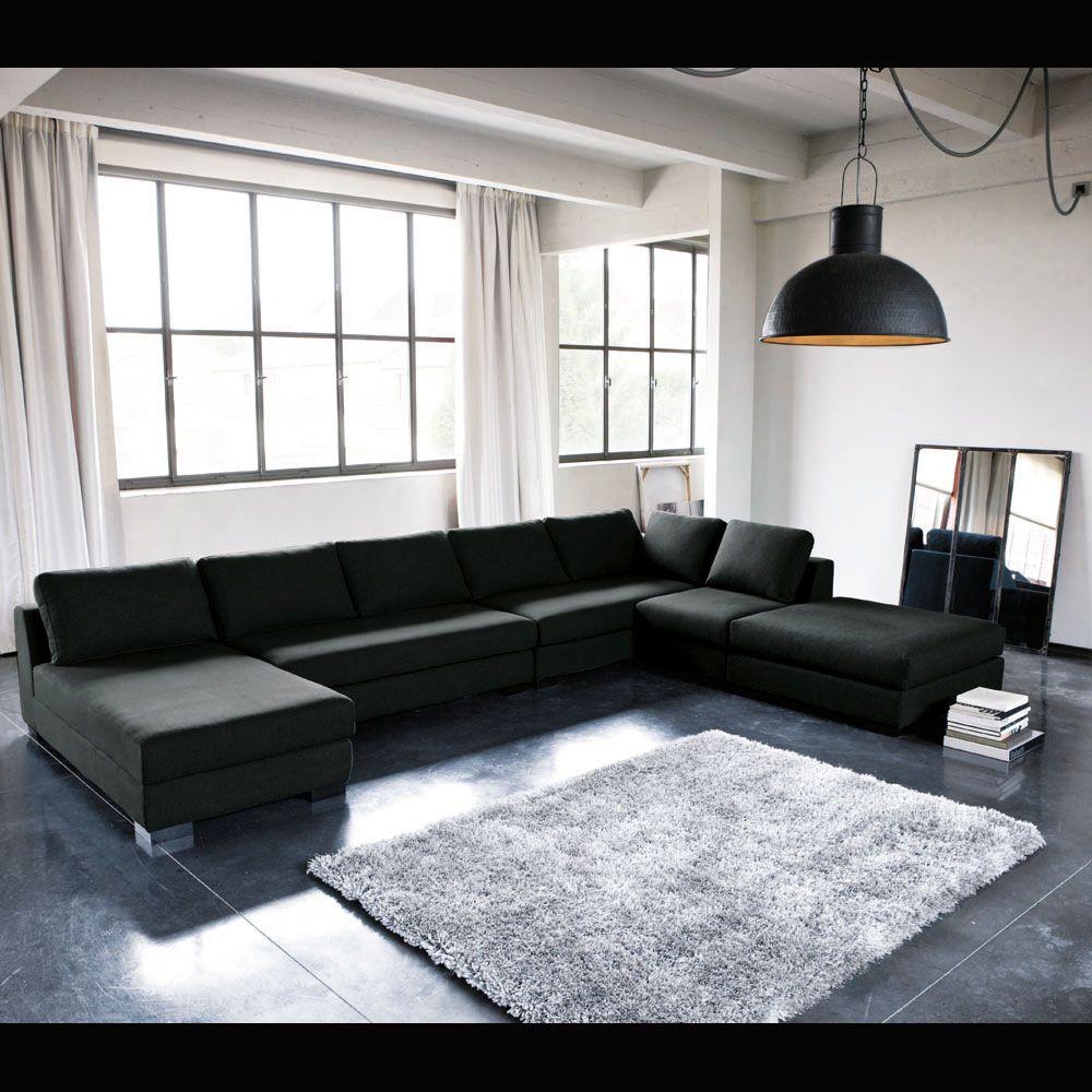 finest canap modulable droit en tissu monet anthracite. Black Bedroom Furniture Sets. Home Design Ideas