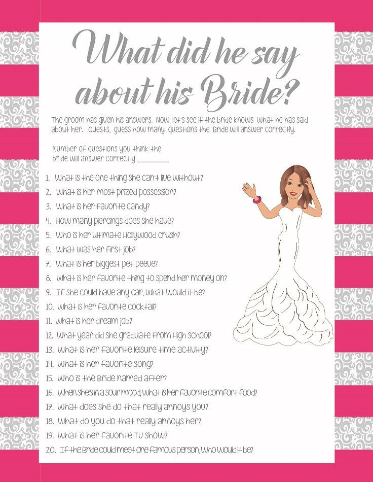 Pink What Did He Say About His Bride Bridal Shower Wedding S Instant
