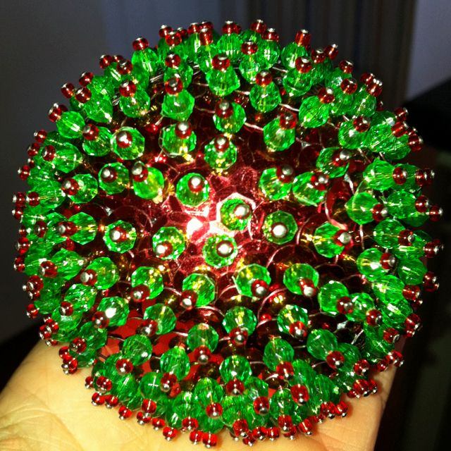 Fun, home-made ornament using styrofoam ball with sequins ...