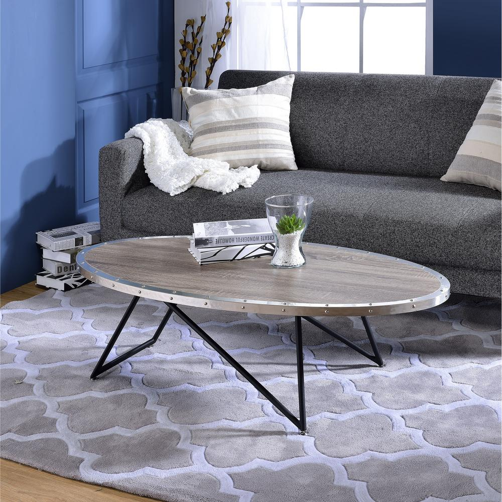 Venetian Worldwide Allis Weathered Gray Oak Coffee Table Va 81730 Oval Coffee Tables Oak Coffee Table Home Decor