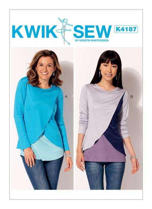 Kwik Sew Pattern K4187 Misses Tulip Overlay Tops Tops Patterns