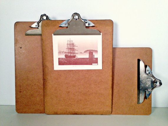 wooden clipboards  industrial wall display by whitecottagesupplies, $20.00