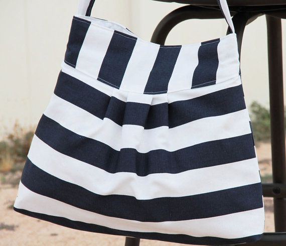 Sale  Navy and White Striped Bag / Purse w/ by peacelovenpolkadots, $30.00