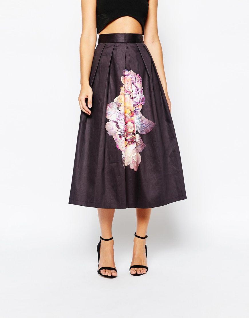 0914dd10ff91 Image 4 - Closet - Jupe évasée mi-longue en satin à imprimé fleurs oversize