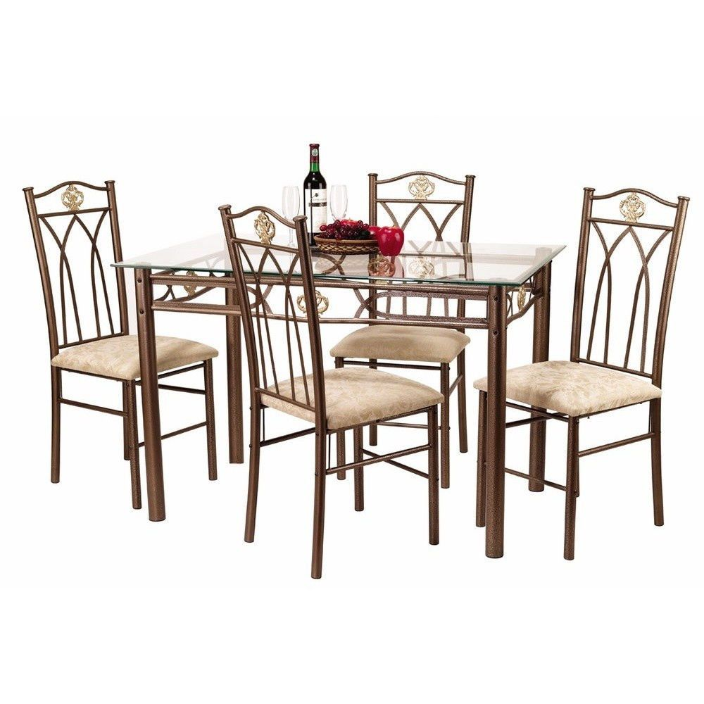 5 Pc Dinette Set -dinner dining room kitchen table gold metal black glass chairs