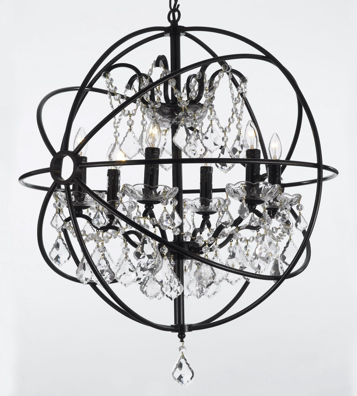 Foucault S Orb Wrought Iron Crystal Chandelier Lighting Country French 6 Lights Ht25 X Wd24 Ceiling Fixture Sphere