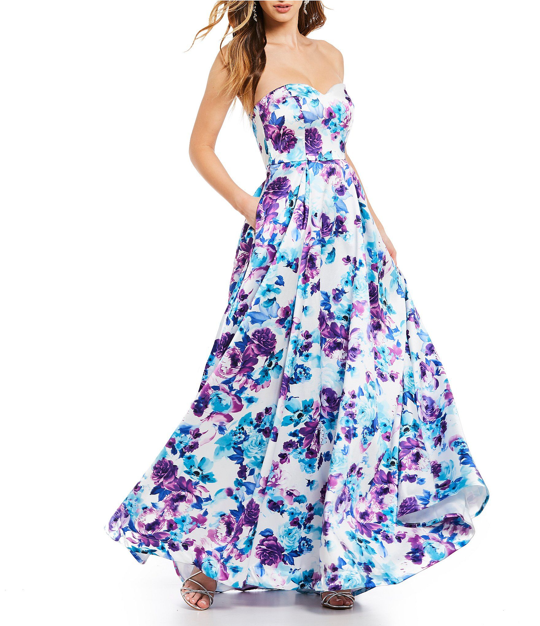 B darlin strapless sweetheart neckline floral ball gown in i