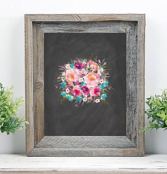 Floral Boquet Chalkboard Watercolor Printable Digital Instant - spreadsheet compare 2013 64 bit