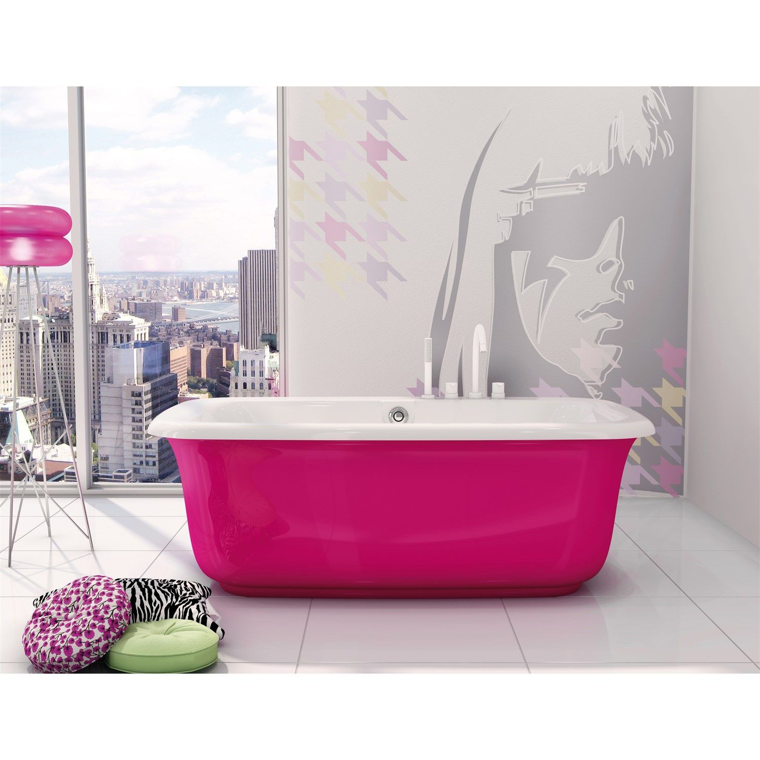 Maax 105756-055-236 Miles Freestanding Bathtub with Pink Martini ...