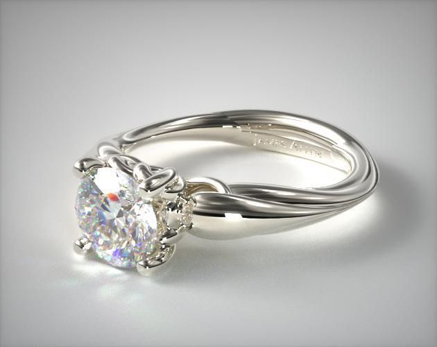14K White Gold Stone Heart Diamond Engagement Ring