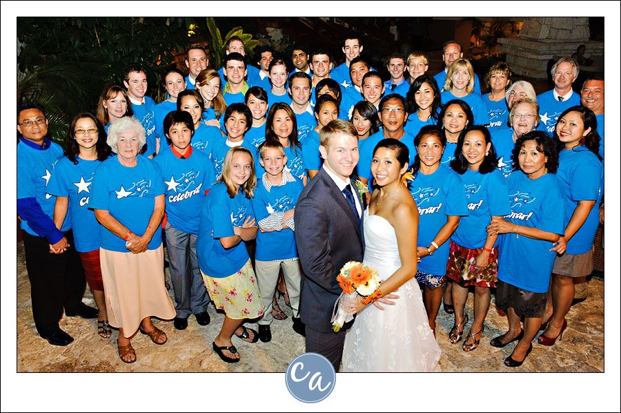 Bride And Groom With Guests Custom Shirts For Their Destination Wedding In Mexico