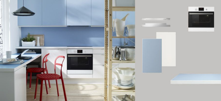 FAKTUM Küche mit APPLÅD Türen/Schubladen weiss, RUBRIK APPLÅD Türen