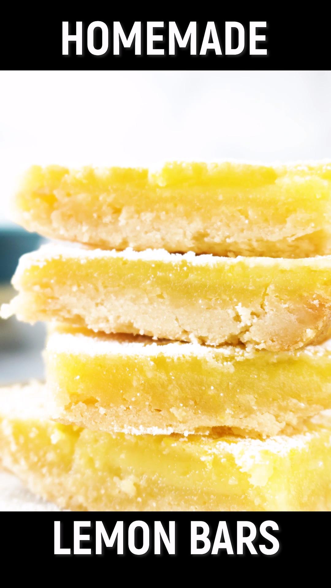 Homemade Lemon Bars Recipe- easy to make and delicious! Enjoy this refreshing lemon bars recipe that's prefect for dessert or a fun treat! #lemonbars #lemonsquares #homemade #dessert #lemon #forkids #easy #summer #atablefullofjoy #simple