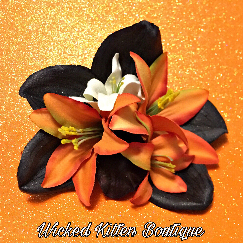 Halloween Hair Clip Goth Hair Flower Hair Flower Pinup Hair Flower Halloween Hair Flower Flower Hair Clip Rockabilly Fall Hair Flower
