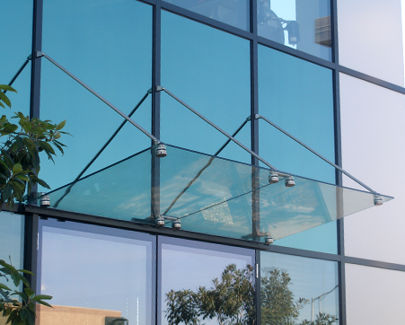 Glass Canopy On Curtain Wall