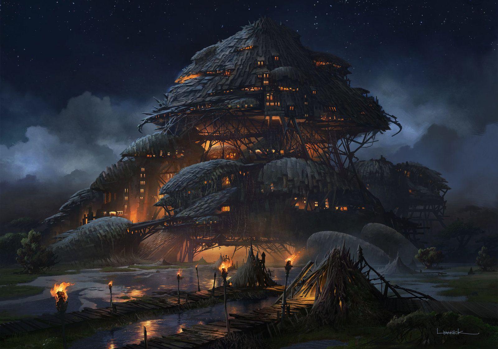 Marsh Fortress, Aaron Limonick on ArtStation at https://www.artstation.com/artwork/marsh-fortress