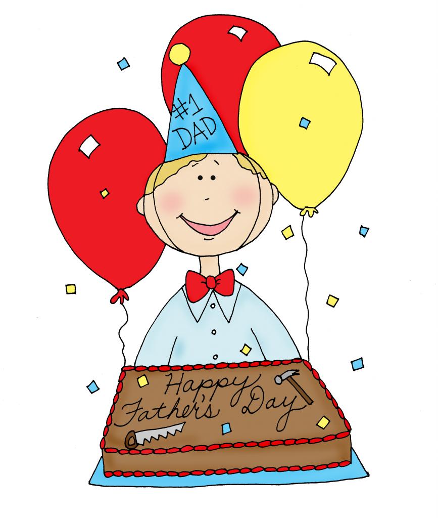 Fathers Day Cake  color [digi stamp illustration]
