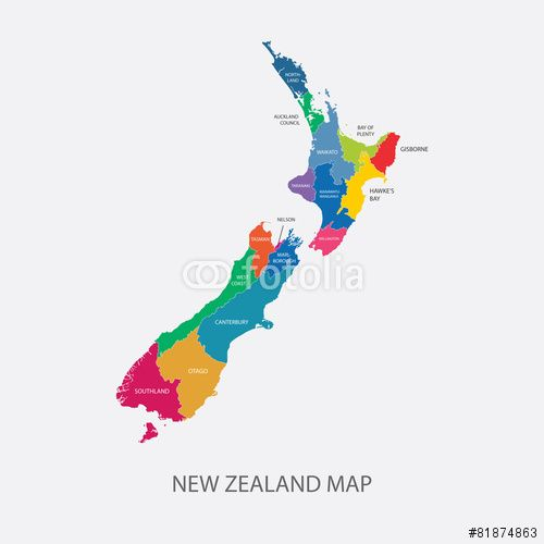 Best New Zealand Map Vector with colored regions #map #maps #newzealand