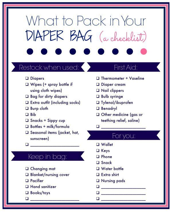 What To Pack In You Diaper Bag A Free Printable Checklist